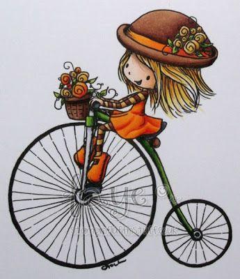Big Wheels Keep on Turnin' - image by Tiddly Inks - Skin;  E000, E00, E21, E70 Hair; Y21, Y15, YR23, E33 Brown; E23, E25, E29, E49 Orange; Y38, YR16, YR09 Green; YG03, YG67 Silver; C1, C3 Black; C5, C7