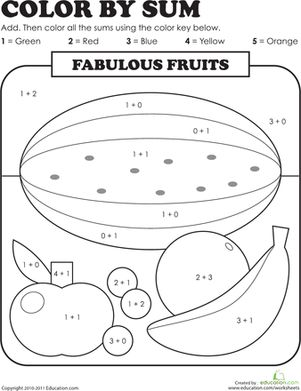 color by sum fabulous fruits colors first grade math and number worksheets. Black Bedroom Furniture Sets. Home Design Ideas