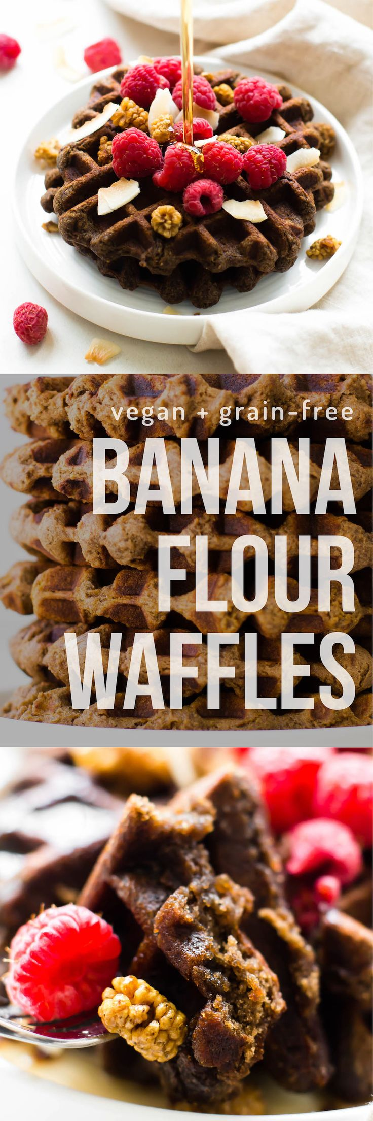 The best vegan   paleo waffles made with banana flour for an easy healthy breakfast! Grain-free, nut-free, egg-free, AIP-friendly. via @Natalie | Feasting on Fruit