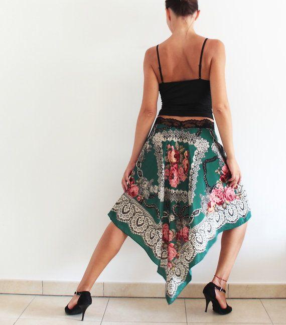 Unique Slik Tango Skirt, Wrap skirt for Social Dance Party, Argentine Tango clothes. Italian Design Fabric