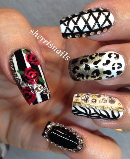 Corset, roses, stripes, animal print nail art
