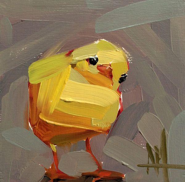 Художник - Анджела Моултон - «Цыпленок» (Анимализм, Масло): Описание картины