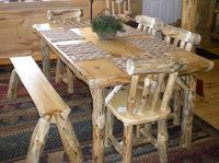 Twist of Nature's Log Dining Table - solid table and chairs are very comfortable - Twist of Nature will build them to whatever size you need www.twistofnature...:  Boards, Logs Dining, Logs Furniture, Rustic Furniture, Kitchens Tables, Logs Cabins Furniture, Red Pine, Dining Tables Logs, Pine Dining Tables