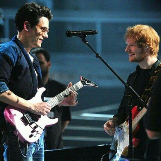 John Mayer and Ed Sheeran... that pink jackson guitar tho.. fender's loss. Haha way to go johnmy baby!!!