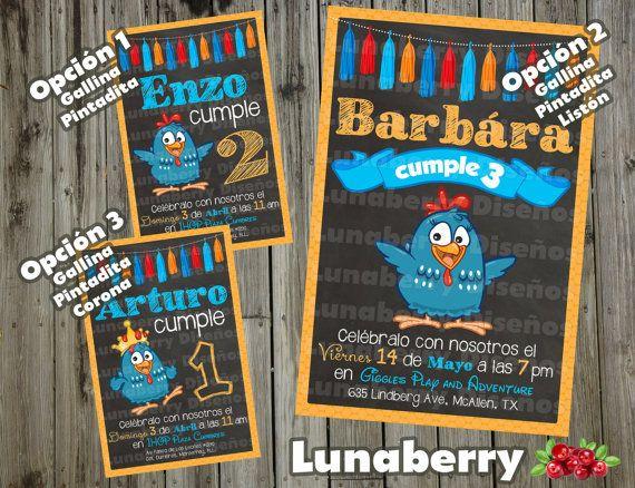 Invitación estilo Pizarrón Pizarra de Cumpleaños Gallina Pintadita Galinha Pintadinha / Lottie Dottie Chicken Birthday Chalkboard Invitation