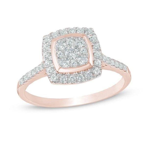 1 2 Ct T W Composite Diamond Cushion Frame Engagement Ring In 10k Rose Gold In 2020 Rose Gold Engagement Ring Vintage Engagement Rings Engagement Rings