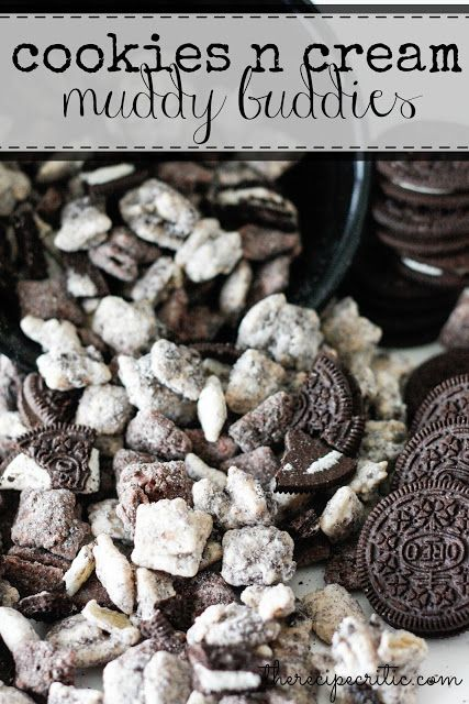 Cookies and Cream Muddy Buddies at http://therecipecritic.com  These are such a delicious and addicting snack!  The tiny crushed oreos to coat the outside make these amazing!
