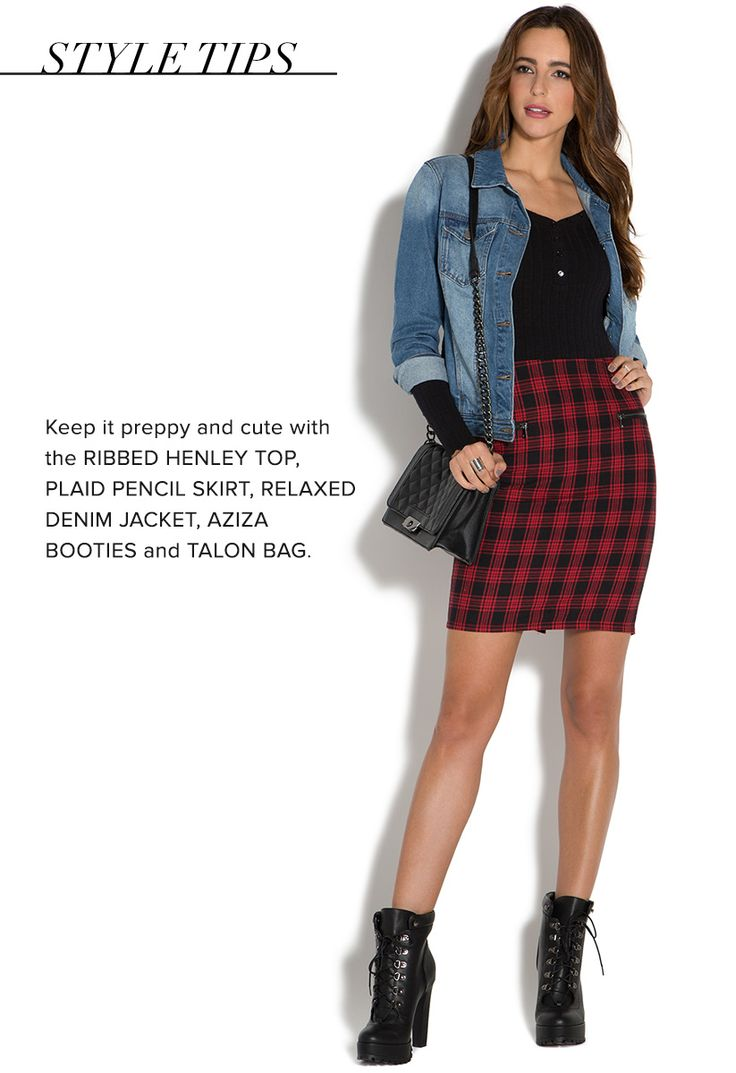 With a chambray top and flat boot, the Plaid Pencil Skirt by JustFab will have you looking extra-cool in no time.
