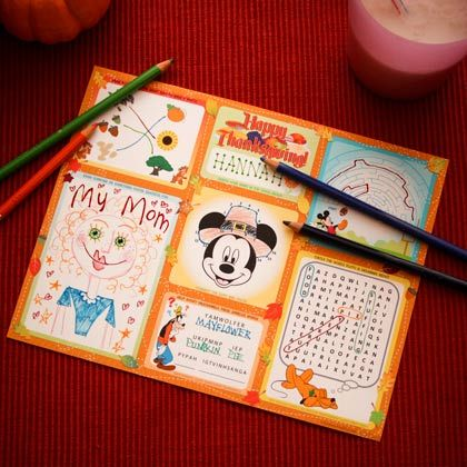 Mickey & Friends Thanksgiving Activity Placemat | Spoonful
