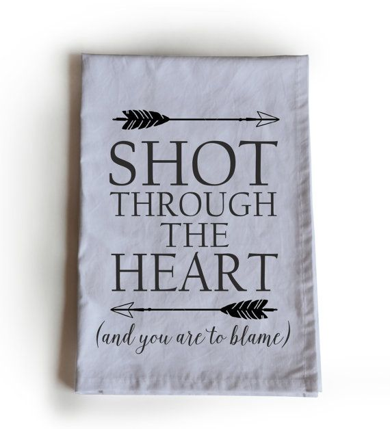 Shot Through The Heart Tea Towel Cotton Kitchen by AmoreBeaute