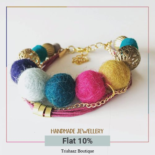Designed to Perfection, Pretty Handcrafted Fashion Jewellery  from Trishaaz Boutique ! Follow link to avail offer at ShopIN deal : http://bit.ly/2DP1arB  #handmade #artificial #jewellery