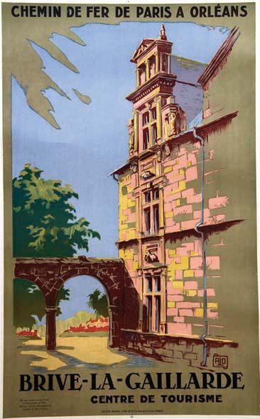 chemin de fer de paris à orléans - Brive La Gaillarde - vers 1925 - illustration de Hallo -