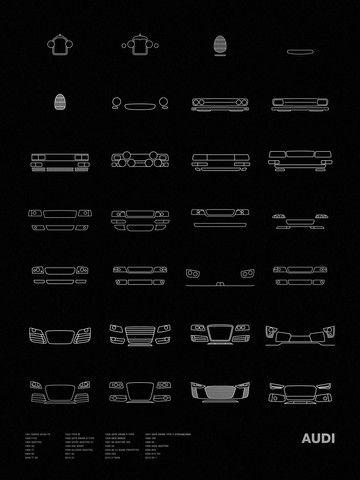 Models shown: 1907 HORCH 26/65 PS / 1924 TYPE M / 1936 AUTO UNION C-TYPE / 1937 AUTO UNION TYPE C STREAMLINER / 1938 AUTO UNION D-TYPE / 1956 DKW MONZA / 1968 100 / 1969 F103 / 1980 QUATTRO / 1985 SPO