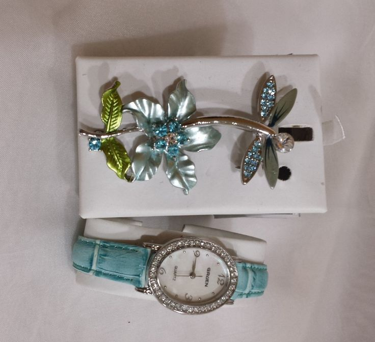 NEW Gruen Watch and 2 Pin Brooches Teal Drangonfly and Teal Flower by KatsVintageTreasures on Etsy