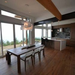 #panorama #bc #Canada #timberframe #timber #wood #house #architecture #interior #custom #customhome #contemporary #kitchen