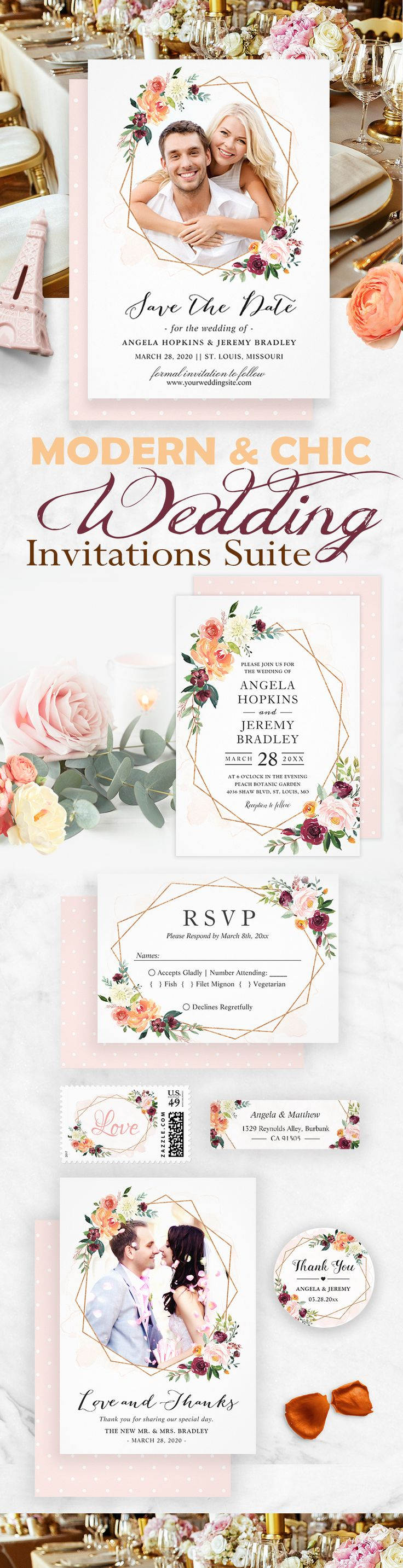 A Modern Geometric Bloom Floral Invitations Suite, with items from Invitations to RSVP card, Thank You Card, Save the Date Card, Information Card and more.