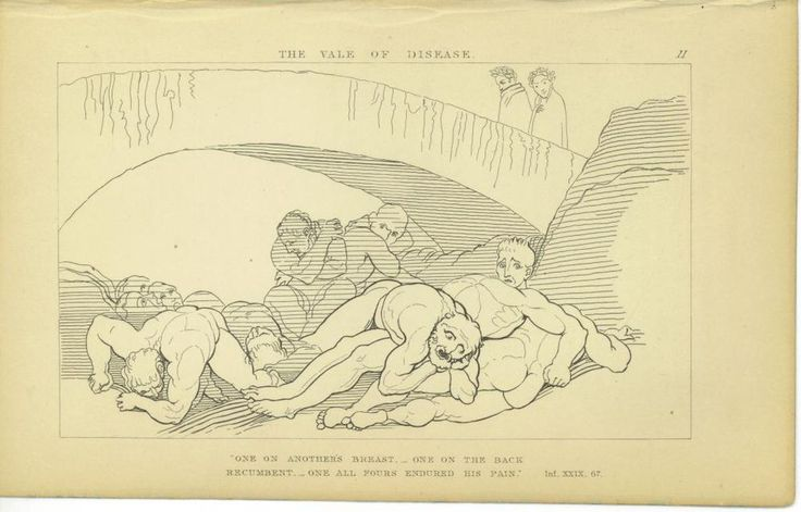 1857 JOHN FLAXMAN STEEL ENGRAVING DANTE'S INFERNO THE VALE OF DISEASE #Expressionism