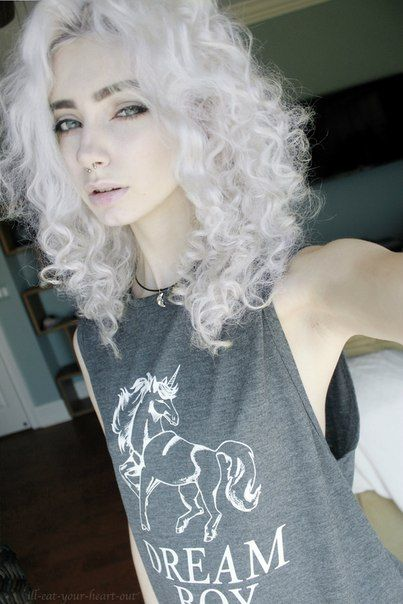 Curly dyed hair. It's hard to find pictures of pastel hair that is naturally…
