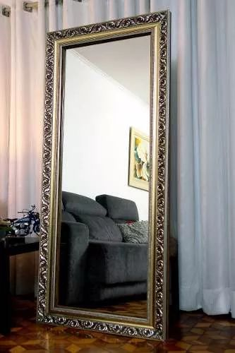 espelho grande moldura madeira detalhes prateado