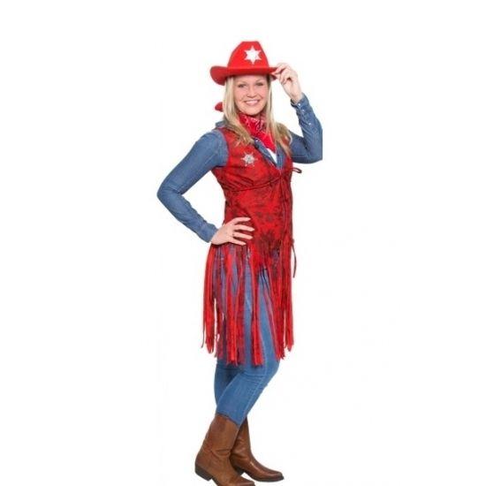 Rood cowboy kleding vestje voor dames  Cowgirl vestje met sheriff ster rood. Dit western cowgirl vestje is gemaakt van polyester. Let op: de cowboyhoed is niet inbegrepen.  EUR 19.95  Meer informatie