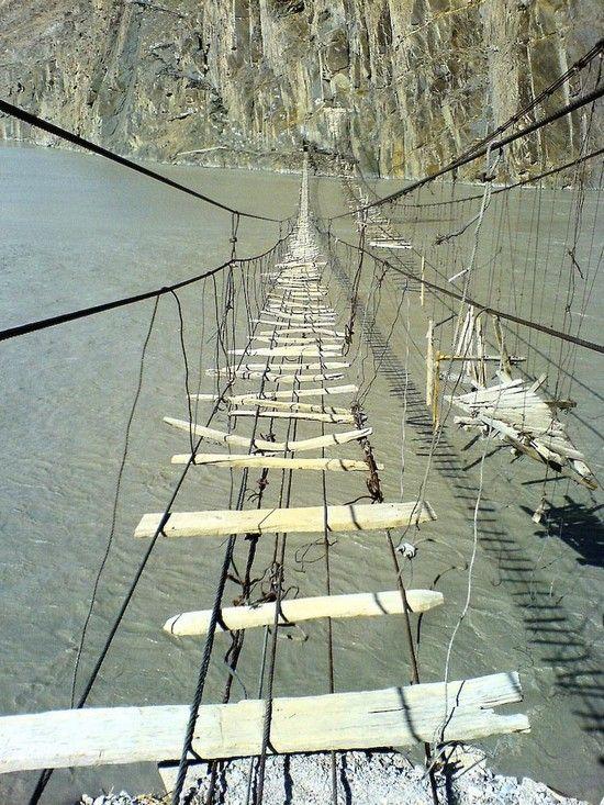 Hussaini-Borit Lake Bridge, Pakistan (beautiful photo of a terrifying walkway)