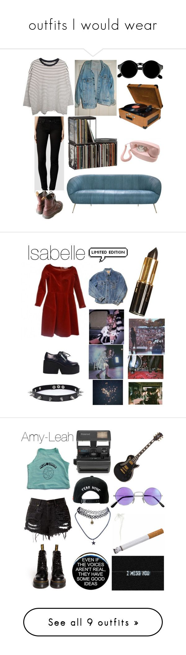 """""""outfits I would wear"""" by llamapoop ❤ liked on Polyvore featuring AllSaints, Levi's, CB2, Retrò, Crosley, Trend Cool, Brandy Melville, Dr. Martens, Impossible and Trukfit"""