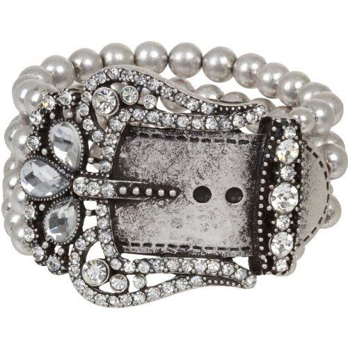 "Heirloom Finds Bold Belt Buckle Cuff Bracelet with Crystals in Matte Oxidized Silver Tone Heirloom Finds. $28.99. Arrives Gift Boxed!. Bring Out Your Inner Cowgirl. Bracelet is 7"" around but stretches to fit most. Wear alone or with other bracelets. Bracelet measures 2"" wide. Save 57%!"