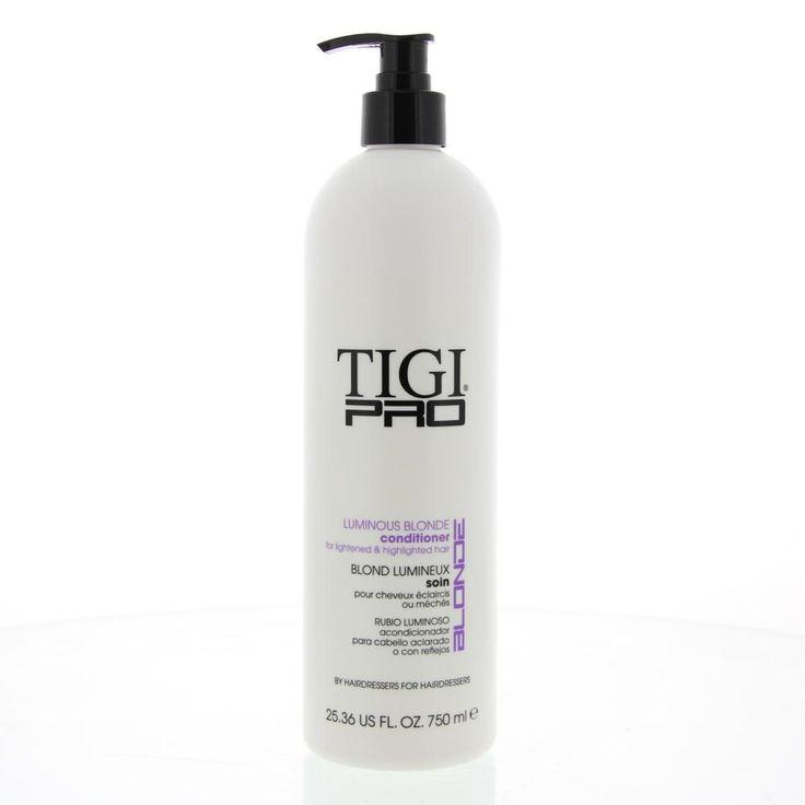 Tigi Pro Blonde Luminous Blonde Conditioner Geblondeerd Haar/Highlights 750ml  Description: Tigi Pro Luminous Blonde Conditioner verzorgt het haar op een zachte manier en biedt bescherming en glans aan natuurlijk of geverfd blond haar. Alle haarverzorgingsproducten van Tigi Pro zijn voorzien van een'proteïnehersteltechnologie'; een tweedelige aanpak die het haar van binnenuit herstelt en aan de oppvervlakte beschermt tegen beschadiging van buitenaf. Gebruiksaanwijzing: Na de shampoo…