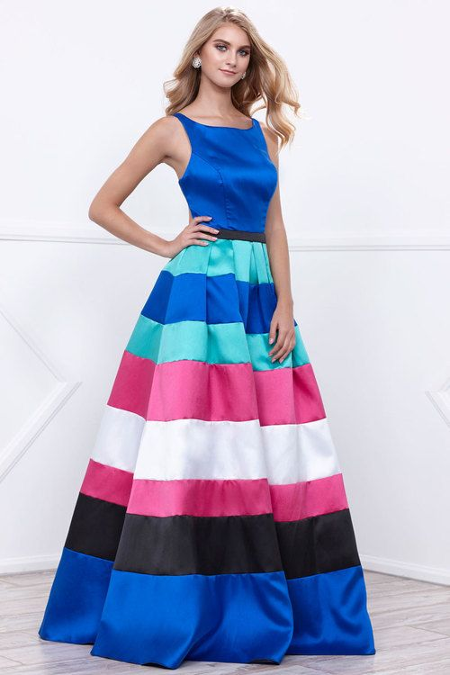 Long Sleeveless Mikado Dress with Color Blocked Skirt in Multi-Color