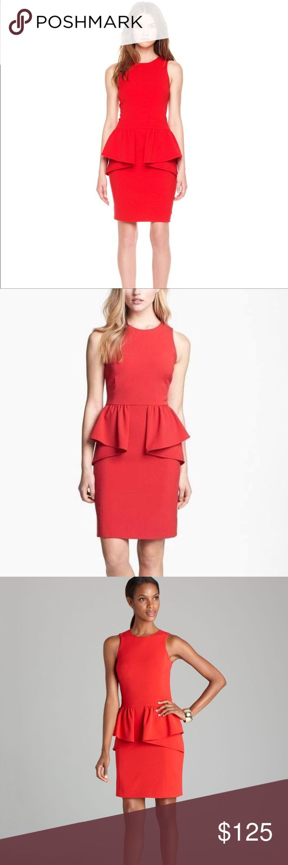 MICHAEL Michael Kors Red Jersey Peplum Dress Perfect condition, only worn a few times! MICHAEL Michael Kors Dresses Midi