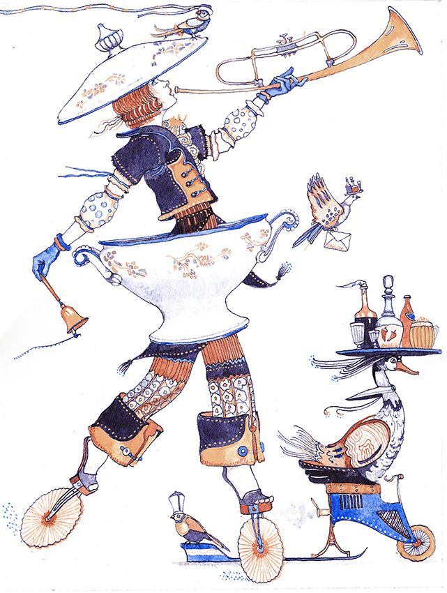 Просмотреть иллюстрацию Супница.Из серии сбежавшие предметы из сообщества русскоязычных художников автора Фролов Петр в стилях: Графика, нарисованная техниками: Смешанная техника.