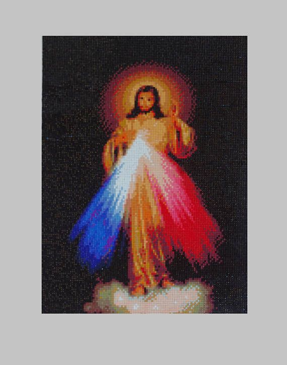 Divine Mercy Jesus Diamond Painting Finished Completed Wall Decor Embroidery Cross Stitch Rhinestone Needlework Religion Mosaic