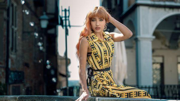 صور بنات الفيس بوك الجديدة Red Head Girl Hands In Hair Yellow Dress 4k صور بنات كيوت Maxi Dress Yellow Dress Redhead Girl