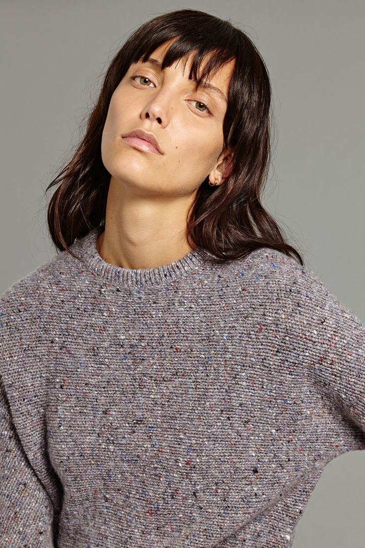 Kallo Pullover In Melange Taupe,   A staple of the OYUNA collection this chunky cashmere and wool blend sweater is supremely soft and features flecked yarns throughout. It has a round neckline and slim silhouette.