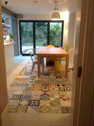 Patchwork tile idea: Contemporary Grand Designs using Encaustic Tiles, Reclaimed Tiles, Spanish Tiles for architects, kitchens, bathrooms, halls, floors and walls | Alhambra Home & Garden