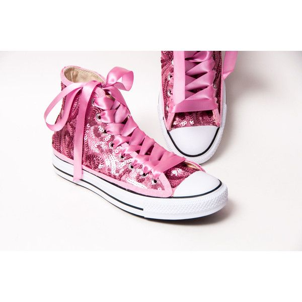 Sequin Blush Pink Swirl Curl Pattern Converse All Star Hi Top Canvas... ($140) ❤ liked on Polyvore featuring shoes, sneakers, hi tops, silver, sneakers & athletic shoes, women's shoes, high top tennis shoes, hi top tennis shoes, pink shoes and sequin high top sneakers