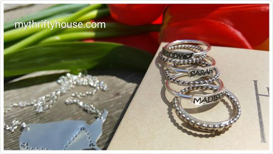 A beautiful way to keep a lost loved one close to yo, with a  personalized ring stack | www.mythriftyhouse.com