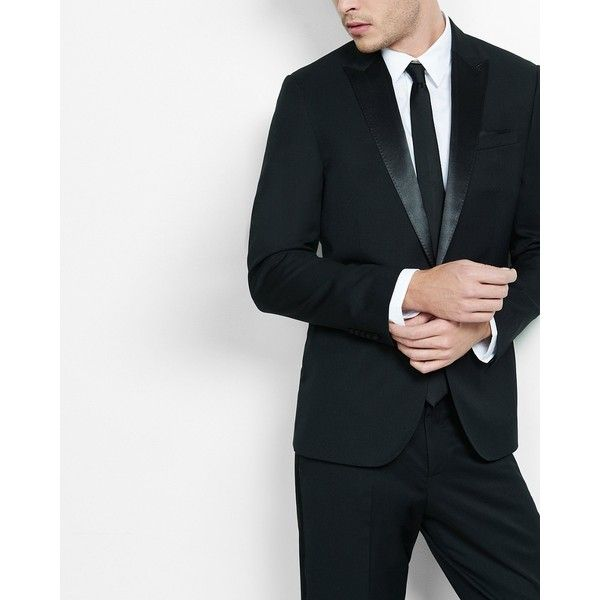 Express Slim Satin-Button Wool-Blend Tuxedo Jacket ($164) ❤ liked on Polyvore featuring men's fashion, men's clothing, black, mens slim fit tuxedo, mens suits, mens tuxedo jacket, mens peak lapel suits and mens tuxedo suit