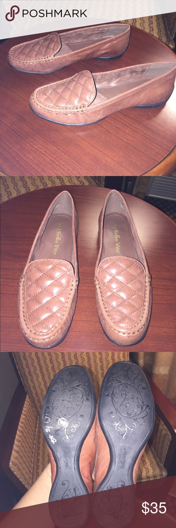 BRAND NEW Bella vita Loafers quilted top design Excellent condition. Light brown. NARROW bella vita Shoes Flats & Loafers