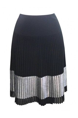Black plissé skirt with a side zipper. Wear it with a blouse and block-heel sandals.