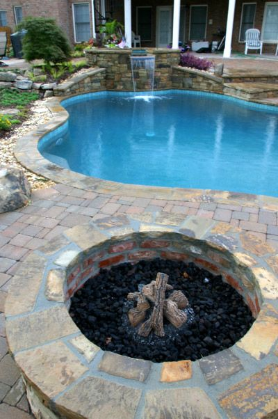14 best images about fire pits and fireplaces on pinterest for Pool and firepit design