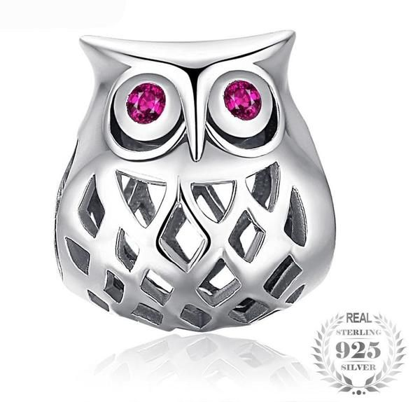 e1f0da42e 925 Sterling Silver Hollow Owl Charm with Colored Crystal Eyes (Fits  Pandora Charm Bracelets)