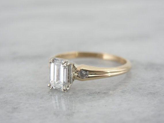 Elegant Emerald Cut Simple Yellow Gold Mid Century by MSJewelers, $3145.00