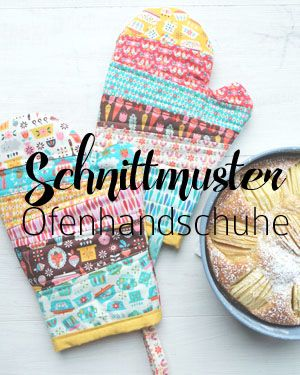 Bunt und farbenfroh: Vintage Kitchen Stoffkollektion von Frau Jolijou | Tischläufer und Topfhandschuhe | Patchwork | Schnittmuster Download