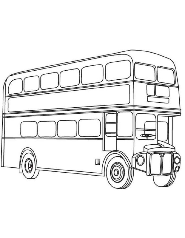 Bus Coloring Pages Collection Bus Drawing Double Decker Bus