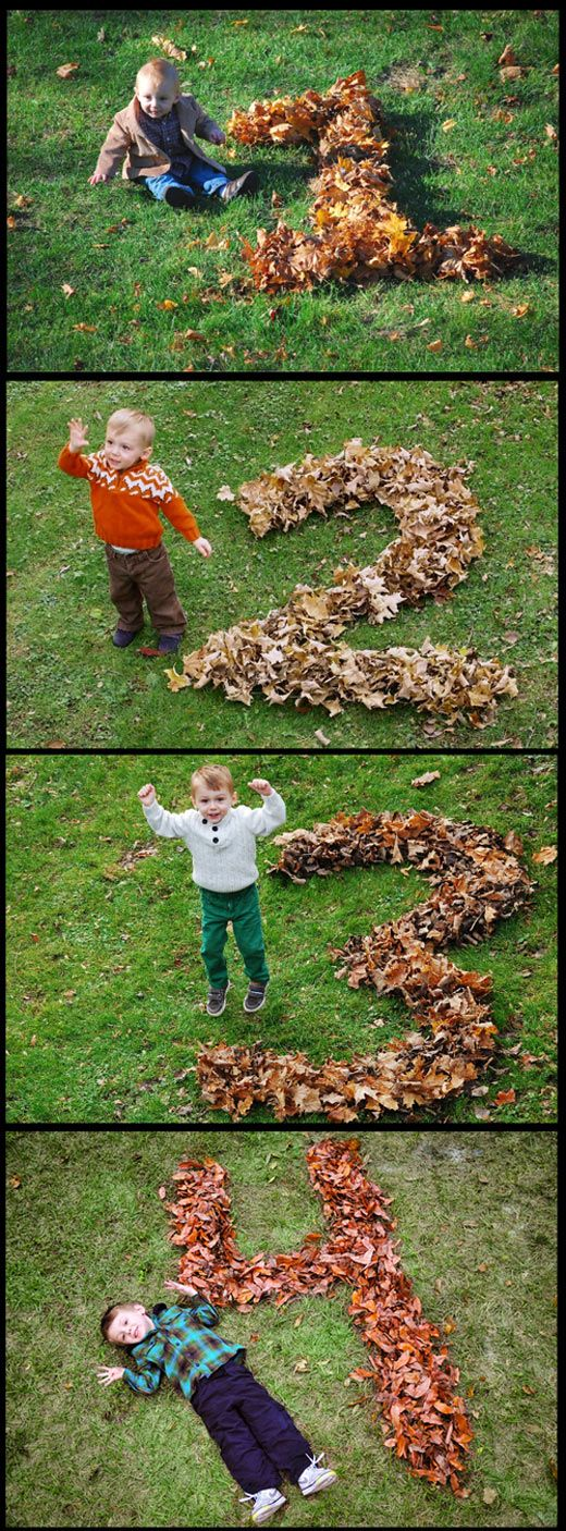 Great idea for an Autumn baby :) seasonal photo props for spring could be flowers, green leaves for summer, twigs on snow for winter!