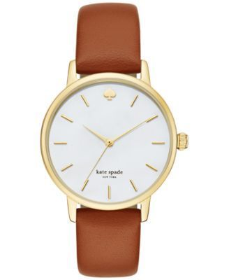 kate spade new york Women's Metro Luggage Leather Strap Watch 34mm KSW1142 | macys.com
