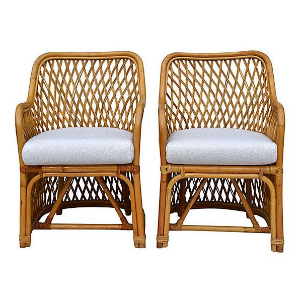 Pre-Owned Bent Bamboo Rattan Chairs Pair ($1,249) ❤ liked on Polyvore featuring home, furniture, chairs, accent chairs, espresso color furniture, set of 2 accent chairs, second hand chairs, bamboo rattan furniture and dark brown furniture