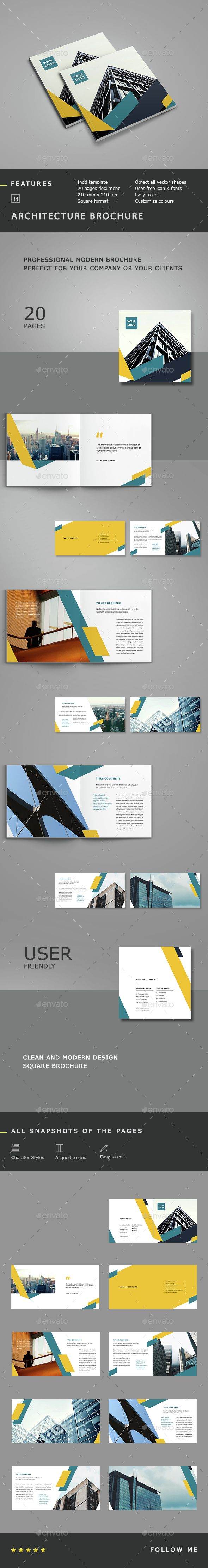 Architecture Square Brochure Template InDesign INDD. Download here: http://graphicriver.net/item/architecture-square-brochure-/14890888?ref=ksioks