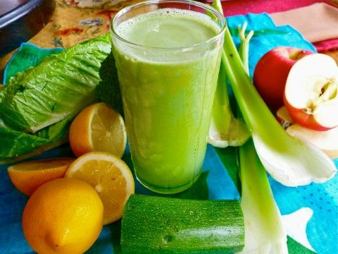 @Kibby Miller 's Key Lime Pie Green Juice. Lemons, Apples, Zucchini, Broccoli, Romaine Lettuce & Celery come together in juuuust the right combinations to make this healthy green juice taste like a dessert in a glass. WOW!